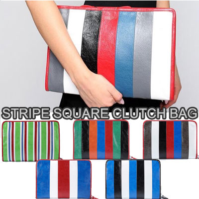 STRIPE SQUARE CLUTCH BAG