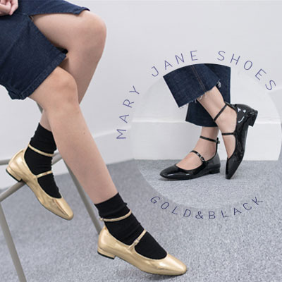 【RANG SHE】GOLD & BLACK MARY JANE SHOES