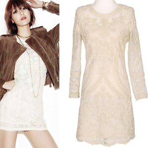 Korean fashion mail order; lace dress Girls Soo was worn in a magazine shoot (2 colors)