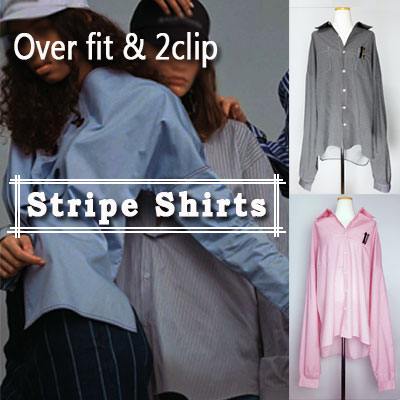 with clip)OVER SIZE STRIPE SHIRTS
