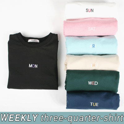 [BASIC SIMPLE LINE]from MON to SUN/WEEKLY QUARTER SHIRT