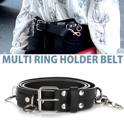 UNISEX type/MULTI RING HOLDER LEATHER BELT