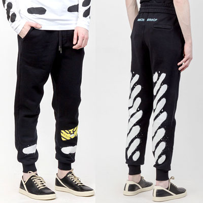 (white,black)DIAGONAL LINE SPRAY PRINT SWEATPANTS