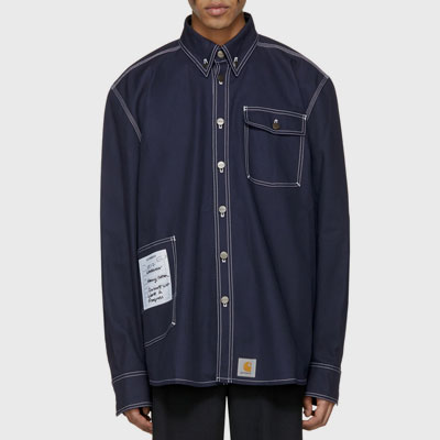 [2017 fw Restock][navy]WHITE STICHI WORK SHIRTS