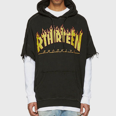 OVER SIZE FLAME CROP SLEEVE HOODIE