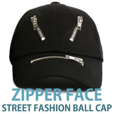 ZIPPER FACE STREET FASHION BALL CAP