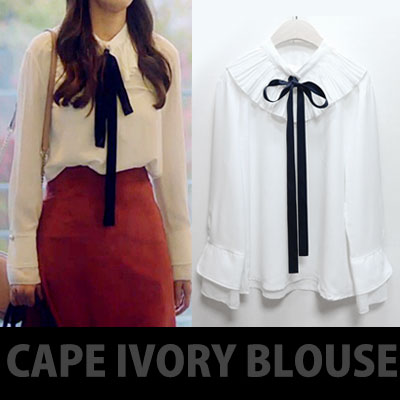 K-DRAMA 'tomorrow with you' CAPE IVORY BLOUSE