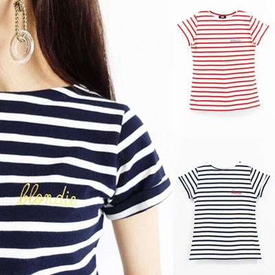 【FEMININE : BLACK LABEL】BLONDIE STITCH STRIPE T- SHIRT(FREE SIZE/3COLORS)