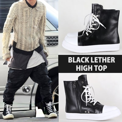 [25.0~27.0cm][COW SKIN]BIGBANG GD/GOT7 BAMBAM STYLE/HIGH TOP BLACK LEATHER SNEAKER