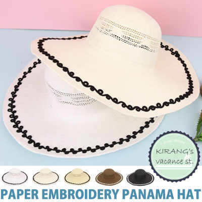 PAPER EMBROIDERY PANAMA HAT