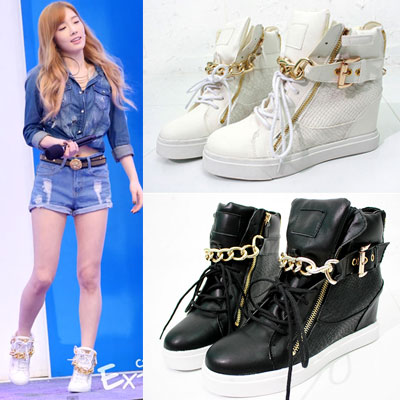 [22.5~25.0cm]GIRLS GENERATION TIFFANY STYLE! Gold chain side zipper high top (2colors)