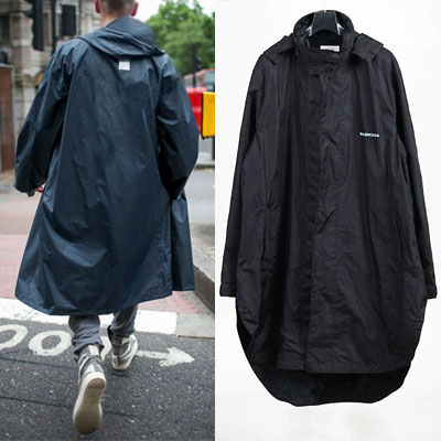 SIMPLE LOGO BLACK RAINCOAT