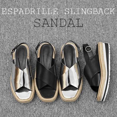 【RANG SHE】CROSS ESPADRILLE SLINGBACK SANDAL(2COLOR)