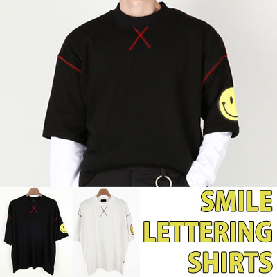 SMILE LETTERING SHIRTS RED STICH POINT