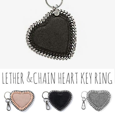 LETHER &CHAIN  LINE HEART KEY RING