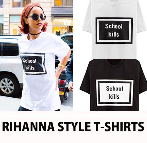<< Super Cheap Sale >>RIHANNA FASHION STYLE! SIMPLE intense and print! School LOGO Tシャツ/school kill