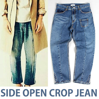 LIGHT BLUE&DEEP BLUE SIDE OPEN CROP JEAN