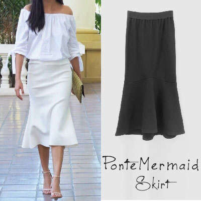 【FEMININE : BLACK LABEL】PONTE MERMAID SKIRT