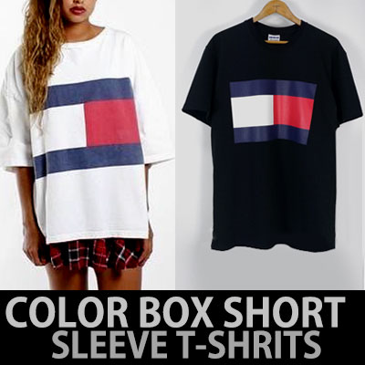 RED WHITE NAVY OVERSIZE SHORT SLEEVE T-SHIRTS