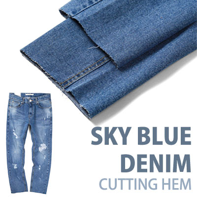 SKY BLUE DENIM BASIC DESIGN PANTS