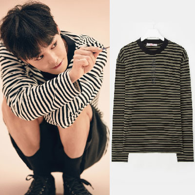 [8SECONDS]/2017 SS  8 X GD's PICK (ORIGINAL)G-DRAGON style!STRIPE LETTERING LONG SLEEVE T-SHIRT