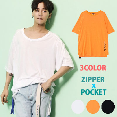 [8SECONDS]/2017 SS  8 X GD's PICK (ORIGINAL)G-DRAGON style! ZIPPER POCKET SHORT SLEEVE T-SHIRT/G-Dragon/GDCollabo