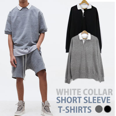 WHITE COLLAR LONG SLEEVE T-SHIRTS