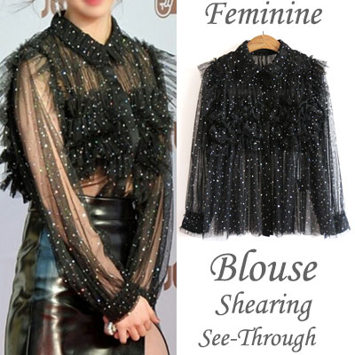 [JESSICA st.]FEMININE SHEARING SEE THROUGH BLOUSE