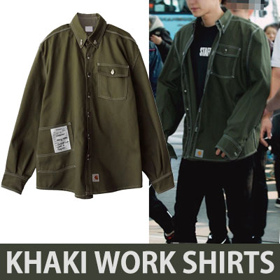 [2017 fw Restock] [KHAKI]WHITE STICHI KHAKI WORK SHIRTS/exo chanyeol