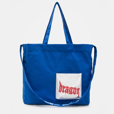 [37% Sale] [8SECONDS]/2017ss 8 X GD's PICK(正規品)blue canvas typo shopper bag GDコラボ