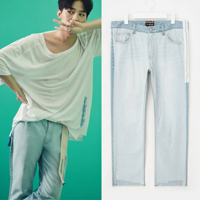 [8SECONDS]/2017ss 8 X GD's PICK(正規品)light denim cut off denim pants GDコラボ