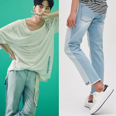 [8SECONDS]/2017ss 8 X GD's PICK(正規品)light denim cut off denim pants GDコラボ