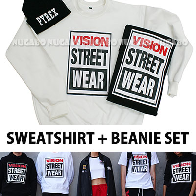 ★DAY SHIPPING★ VISION STREET WEARst. Trainer (2color · brushed back, unisex) and PYREXst. Of knit hat deals SET !!