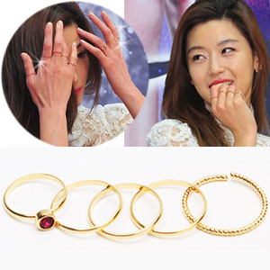 """I came from the star you"" Korea Drama John Ji Hyun STYLE Gold Ring (5set)"