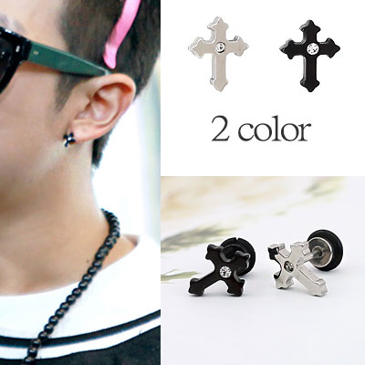 * Korea idle Fashion * Bangtan Boys BTS STYLE velatus cross earrings one (2 color)