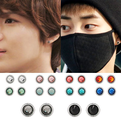 Korea idle plainclothes item | EXO Siu Ming, SHINEE Temin favorite ☆ simple queue Big earrings (10 colors)