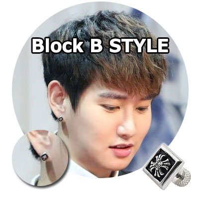 Block B Items | Korean Idol Black Bee Park Kyung wear Chrome Hearts style Repetto Cross Cubic Pierce (1ea)