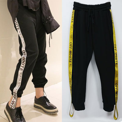 ★NEW UPGRADE VER★YELLOW WAVING LINE SWEATPANTS/JOGGER-copy