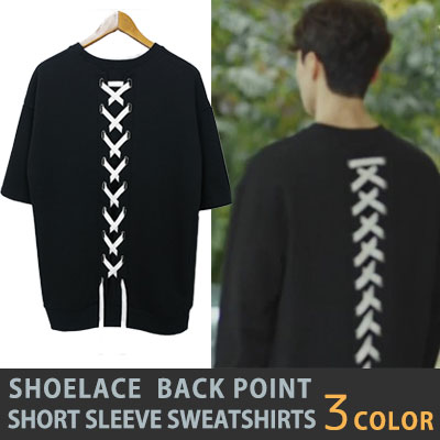 "[K-DRAMA Goblin""Dokebi""]SHOELACE BACK POINT SHORT SLEEVE SWEATSHIRTS"