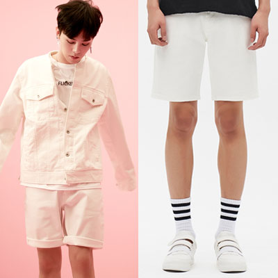 [8SECONDS]/2017ss 8 X GD's PICK(original)WHITE REGULAR DENIM SHORT PANTS GD collaboration