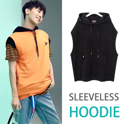 [8SECONDS]/2017ss 8 X GD's PICK(original)BLACK SLEEVELESS HODDIE TOP GD collaboration