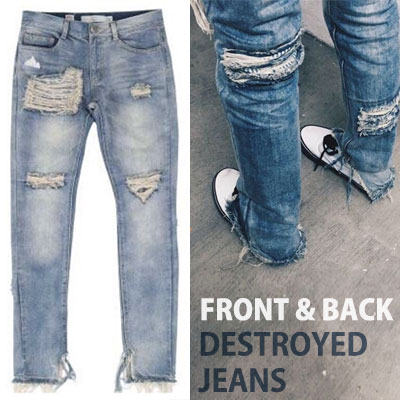 FRONT&BACK DESTROYED JEANS