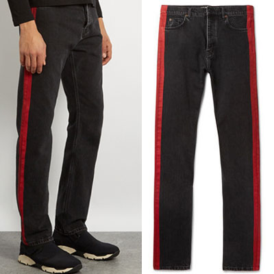 SIDE RED LINE POINT BLACK JEANS