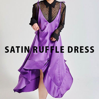 【FEMININE : BLACK LABEL】SATIN RUFFLE DRESS/SLEEVELESS DRESS/ ONE PIECE