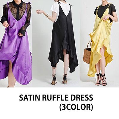 【FEMININE : BLACK LABEL】SATIN RUFFLE DRESS/SLEEVELESS DRESS/ ONE PIECE