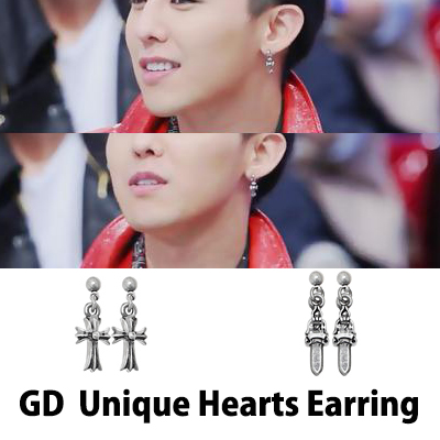 G-DRAGON wear [CRAYON] Unigue Hearts Earring