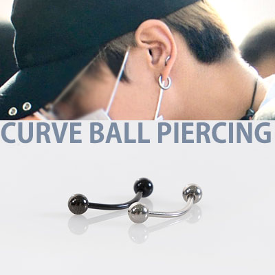 BTS st. TWO BALL SIMPLE CURVE BALL PIERCING