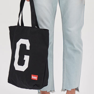 [8SECONDS]/2017 SS 8 X GD's PICK (正規品)GD LETTERING CANVAS ECO BACK BLACK/G-Dragon GD COLLABORATION
