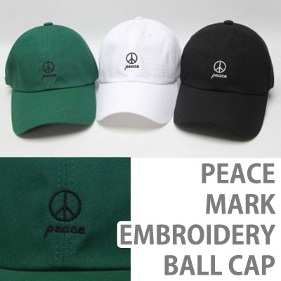 PEACE MARK EMBROIDERY BALL CAP