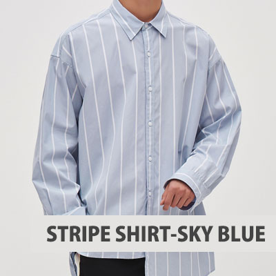 [8SECONDS]/2017 SS 8 X GD's PICK (正規品)ASYMMETRICAL STRIPE SHIRT-SKY BLUE
